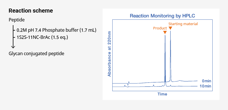 HPLC chart and reaction scheme of glycosylation of a peptide with 1S2S-11NC-BrAc (1.5 equivalents) in 0.2 M pH 7.4 phosphate buffer